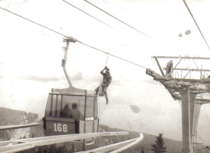 Първа демонстрация за сваляне на пътници от кабинката Алеко 1985 г.